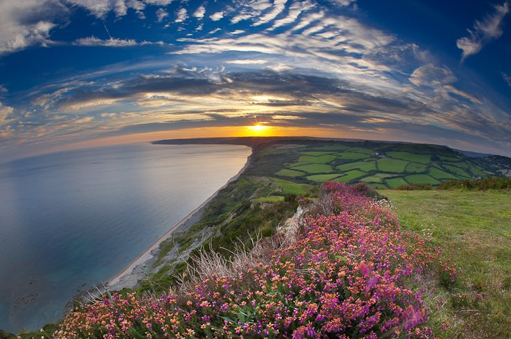 Sunset over the Jurassic Coast from the Golden Cap, Dorset, England