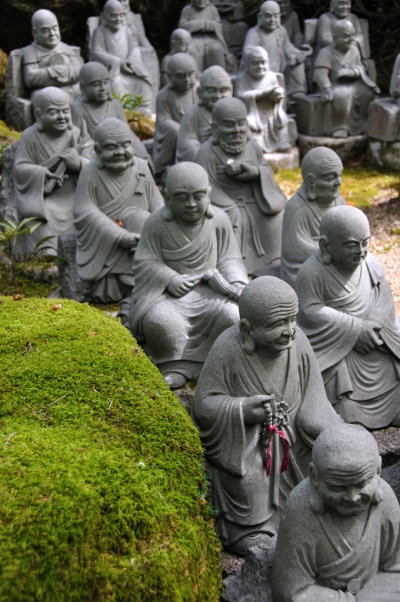 Little Buddha statues at Miyajima, Japan