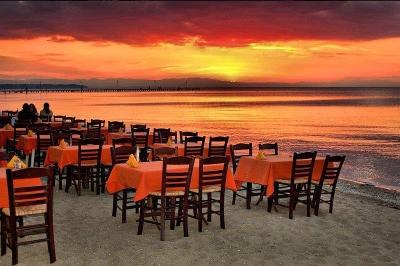 Dining on the beach