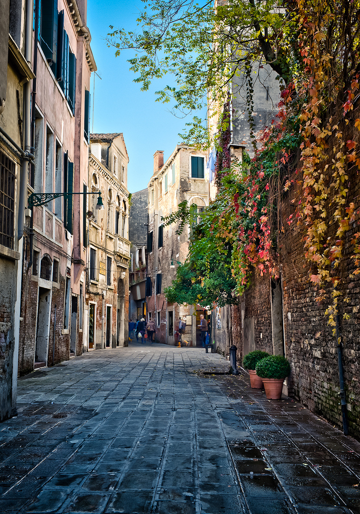 On the few streets of Venice, Italy