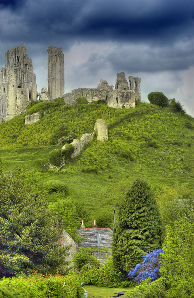 Ruins of Corfe Castle, near Dorset, England