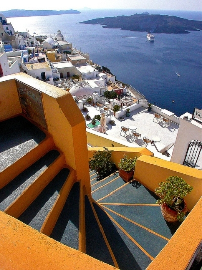 Steps above Fira Harbour, Santorini