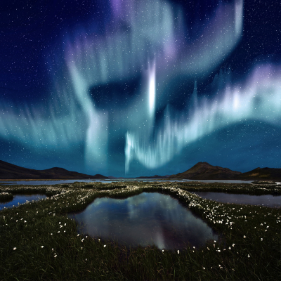 The Northern Lights over Landmannarlaugar, Iceland