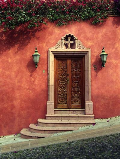 Door on Slanted Street, San Miguel de Allende, Nuevo Leon, Mexico