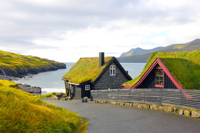 Grass Roofed Homes, Leynar, Faroe Islands