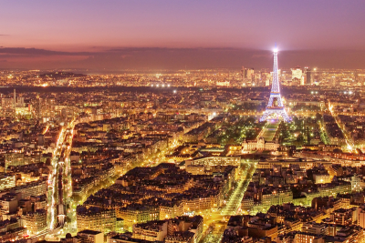 Paris cityscape at night