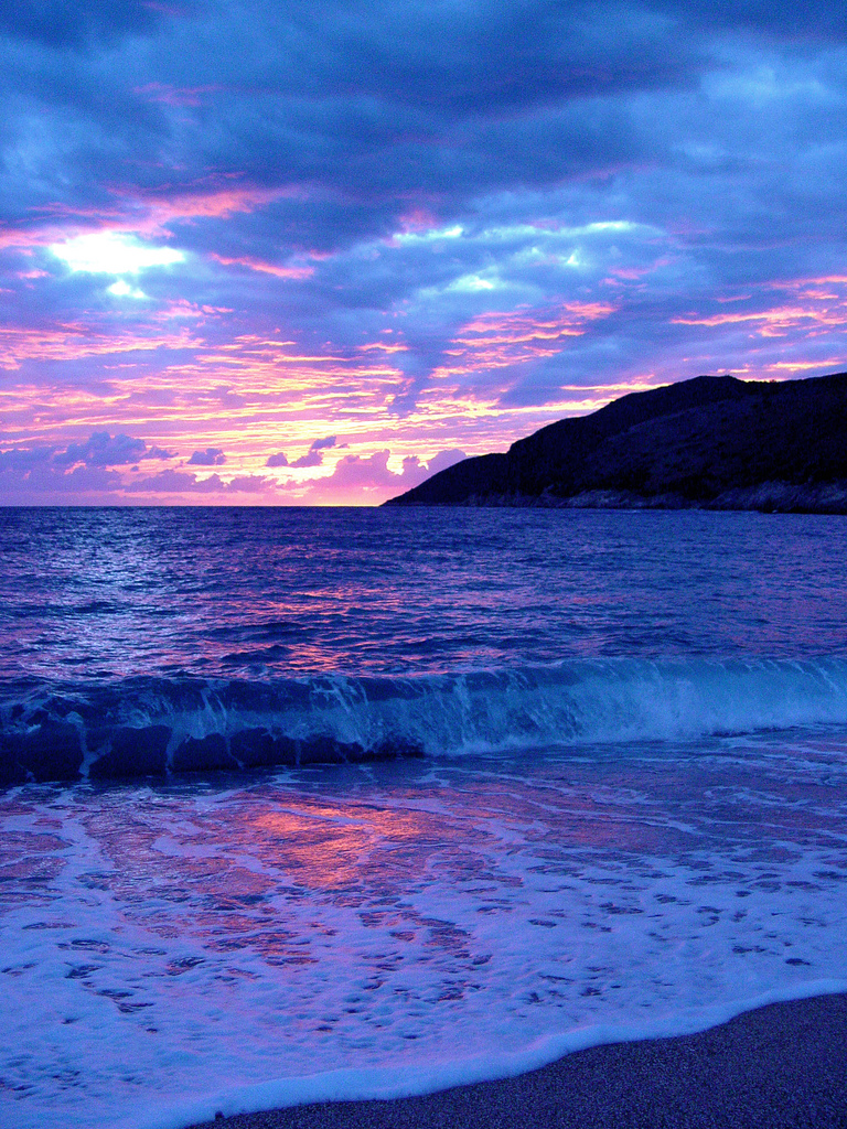 Beautiful sunset in Perendim, Albania