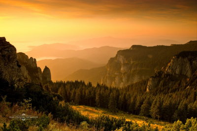 Sunset over the Ceahlău Mountains, Romania