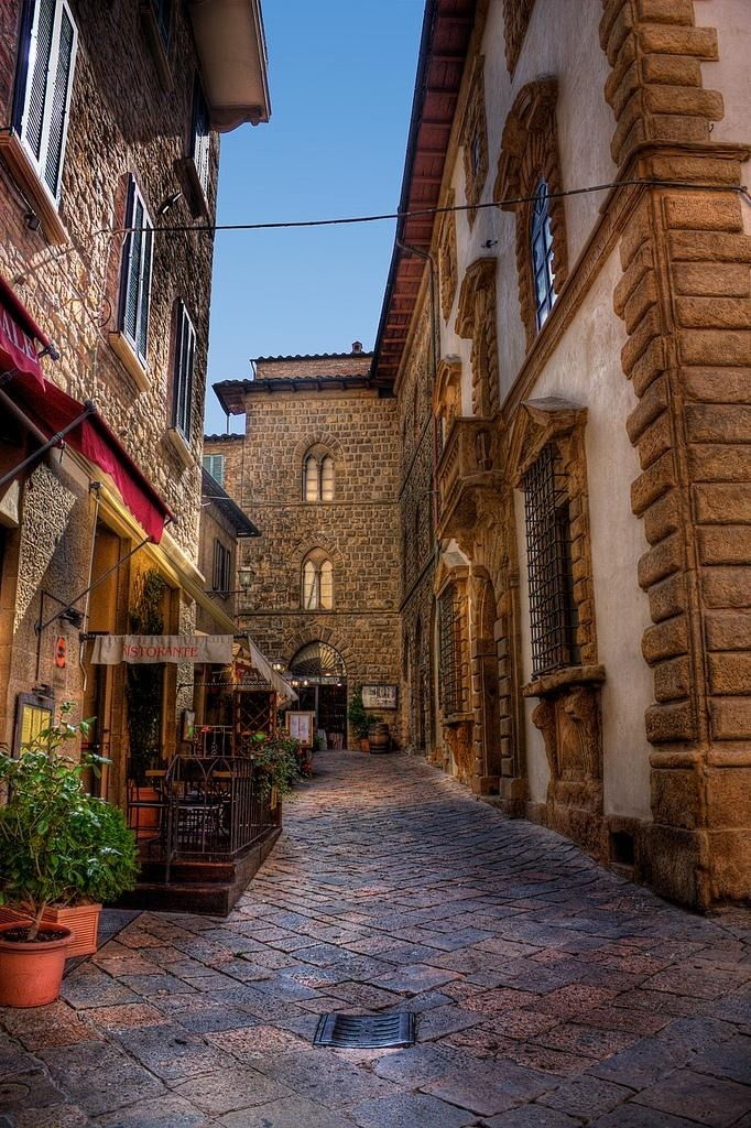 Cobblestone Street, Volterra, Italy