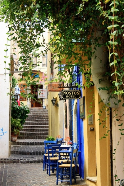 Sidewalk cafe, Hania, Greece