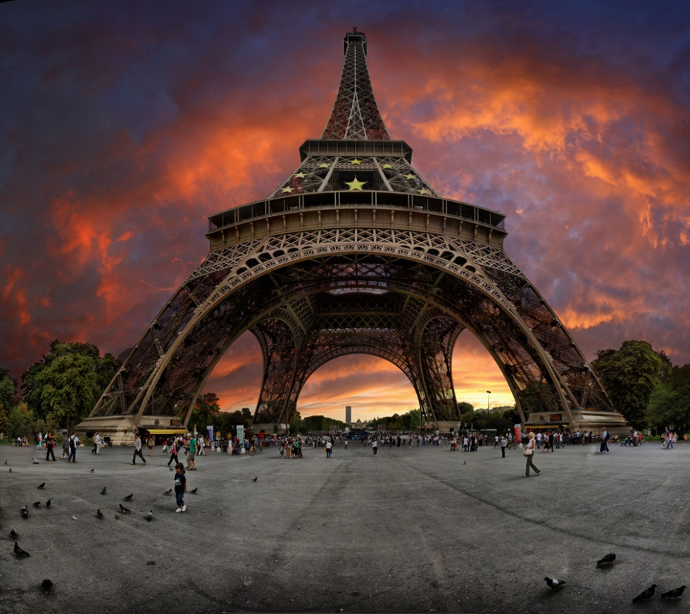 Sunset near the Eiffel Tower, Paris, France