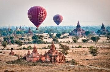 Hot air balloons floating over Bagan, Burma