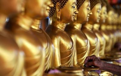 Golden Buddha statues, Kuala Lumpur, Malaysia