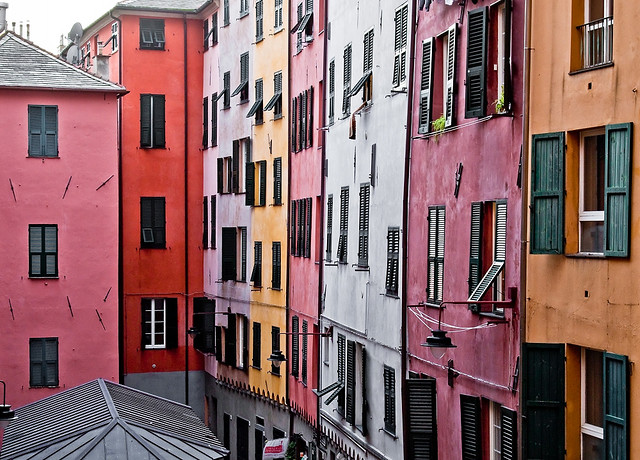 Colourful houses in Genova, Italy