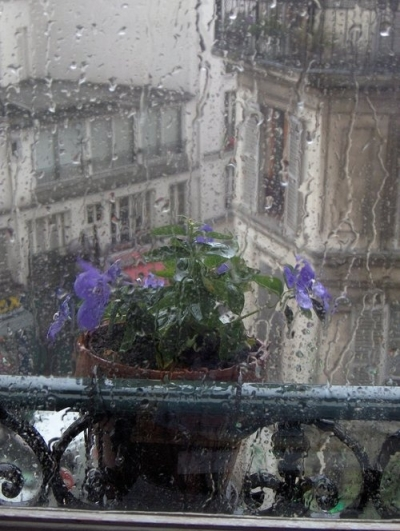 Rainy day in Paris, France
