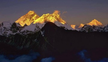 Sunset on Everest, Lhotse and Makalu, in Nepal