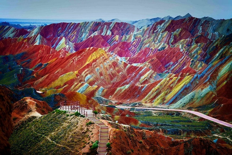 Colourful rock formations in the Zhangye Danxia Landform, China