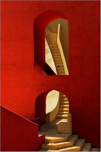 Red wall and stairs