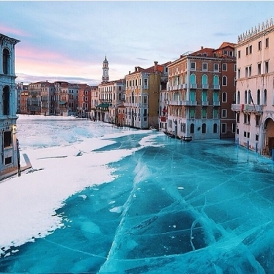 Frozen Grand Canal, Venice, Italy