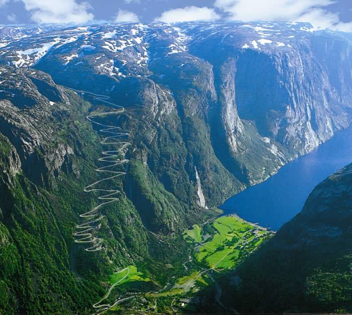 The road at the end of Lysefjorden, Norway