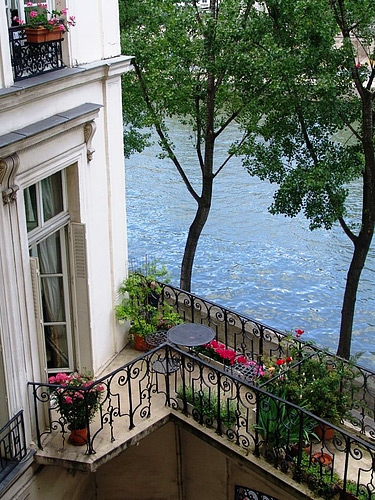 Parisian balcony overlooking the Seine