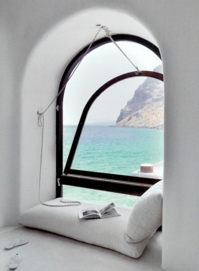 Reading nook in Santorini, Greece