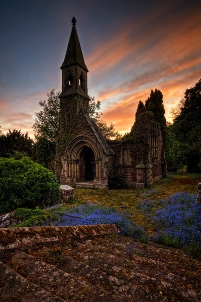 Sunset in Overton, North Wales, England