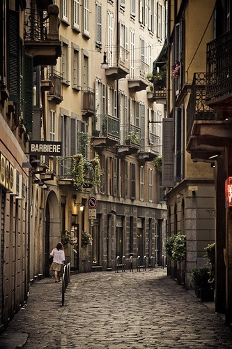 Narrow street in Milan, Italy