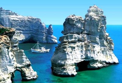 Blue waters near Santorini, Greece