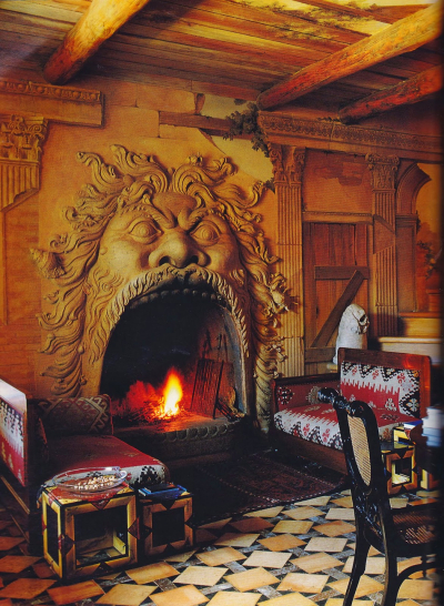 Country house fireplace, Tuscany, Italy