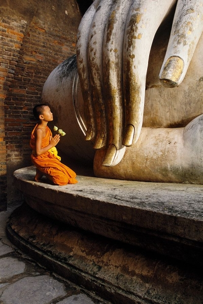 Little monk in Ayutthaya, Thailand