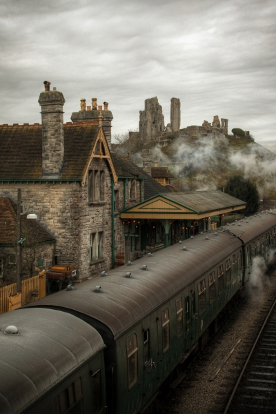 Steam train near Corfe Castle, England