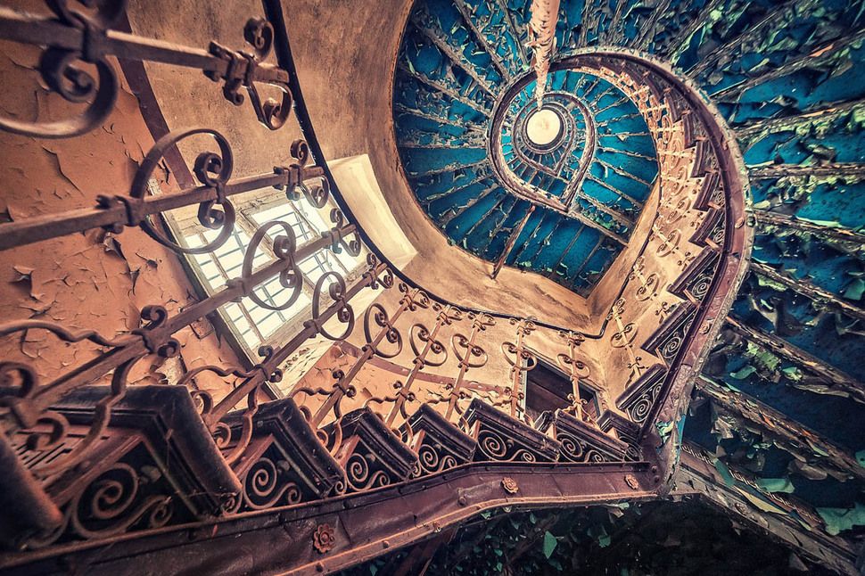 Blue spiral staircase in a European castle
