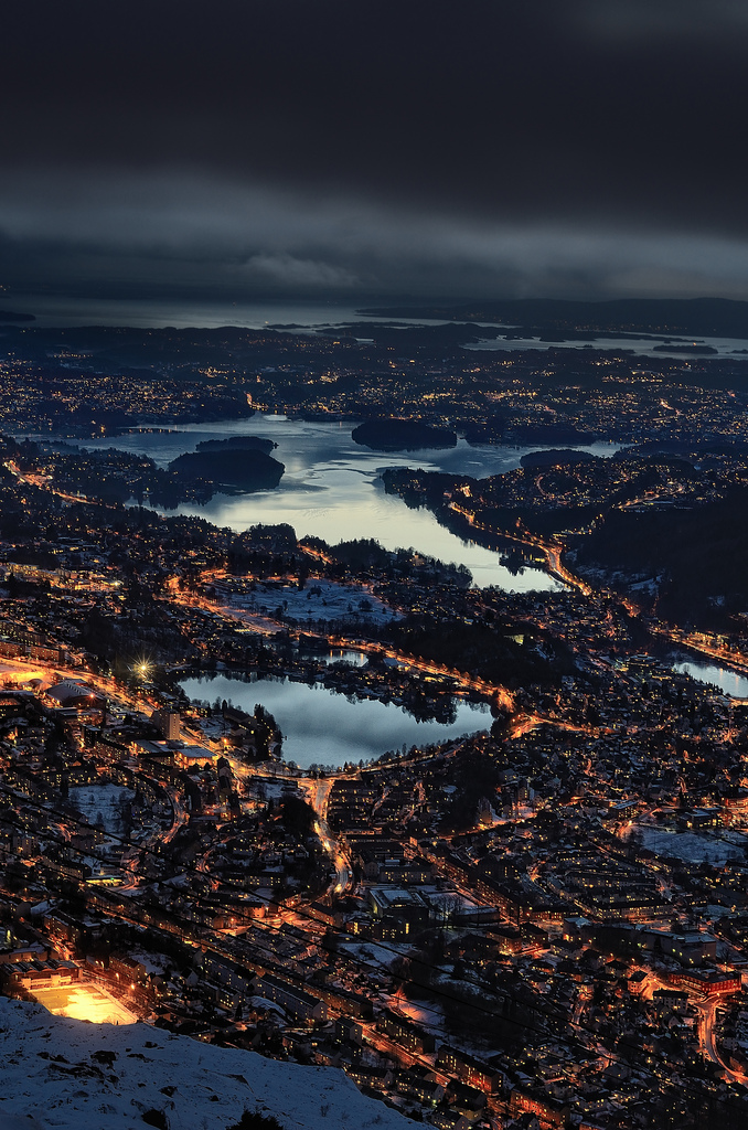 Night over Bergen, Norway