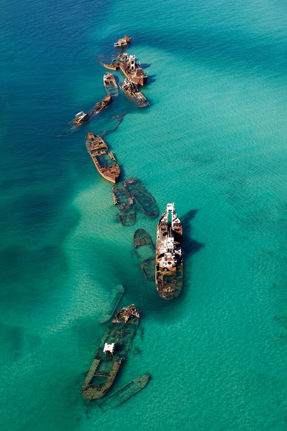 Shipwrecks in a sandbar, Bermuda Triangle