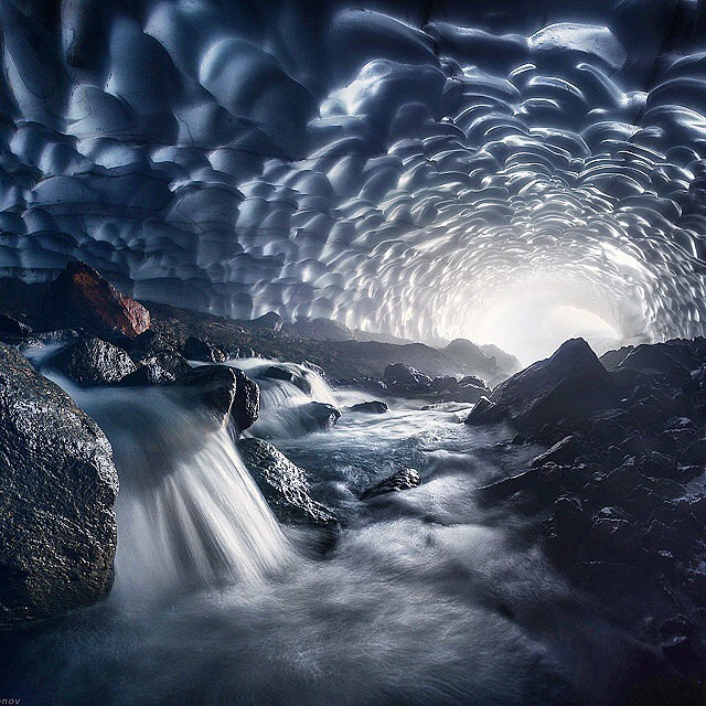 Ice Cave under Volcano, Russia