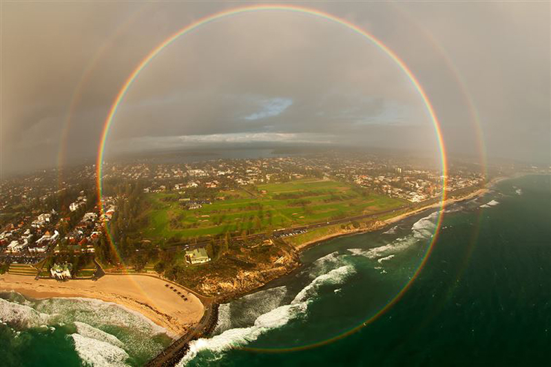 A rare 360 degree rainbow captured from an airplane
