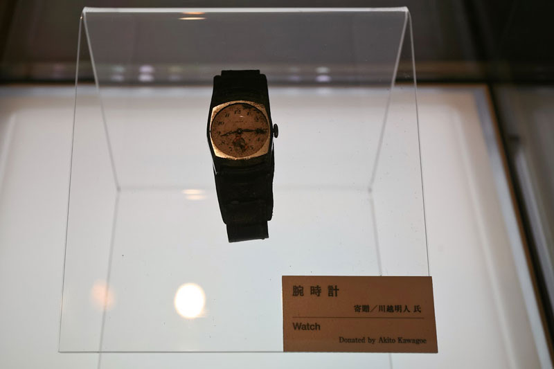 A watch belonging to Akito Kawagoe which stopped at 815, the exact time of the Hiroshima bombing in 1945