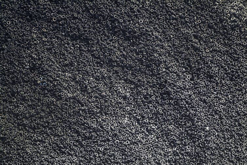 An aerial view of a scrap tire dump