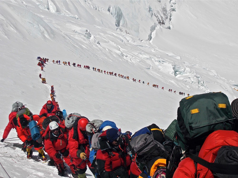 Climbers going up Mount Everest in May 2013