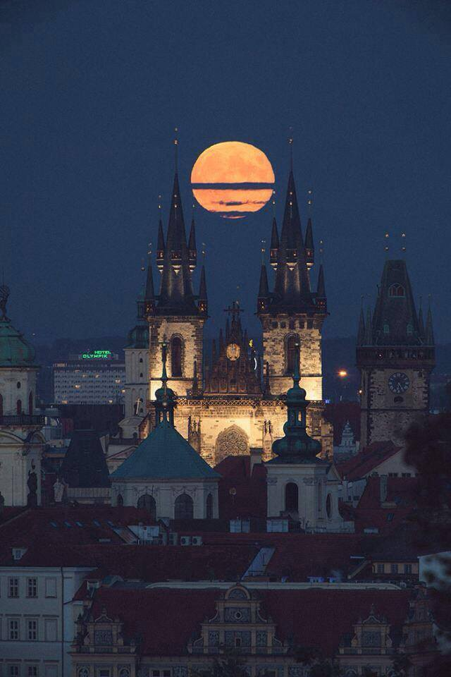 Full moon above Prague
