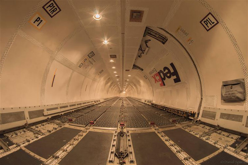 The inside of a FedEx Boeing 757 without any cargo