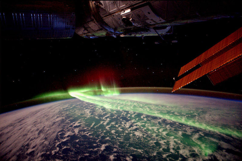 The northern lights as seen from the space