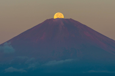 Amazing moon over Mount Fuji, Japan