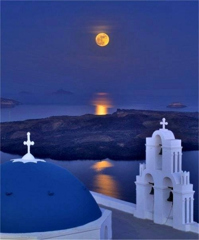 Full moon night over Santorini, Greece