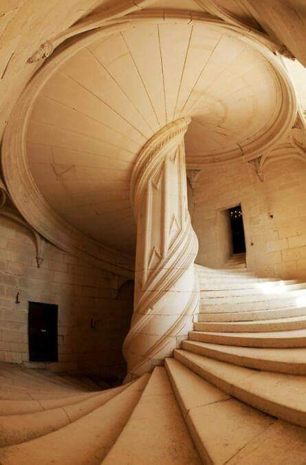 A staircase in La Rochefoucauld, France created by Leonardo da Vinci in 1517
