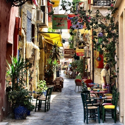 Chania Street, Isle of Crete, Greece