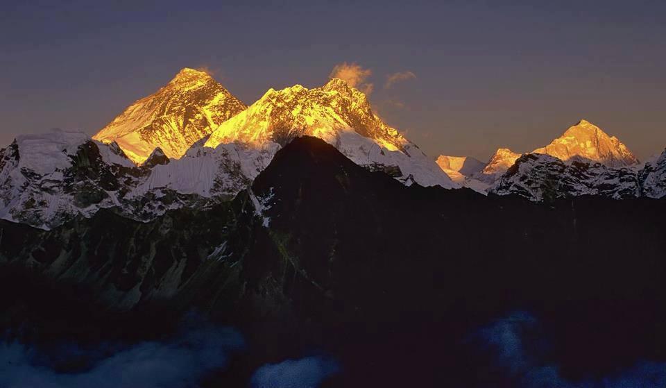 Sunset on Everest, Lhotse and Makalu, in Nepal photo on