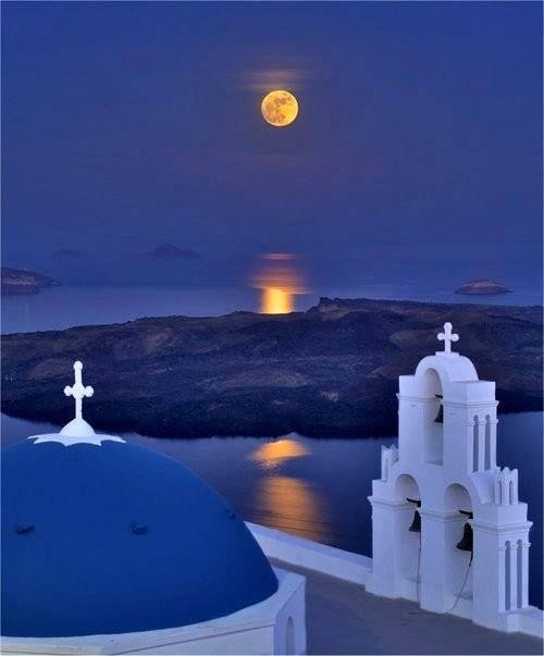 full moon night over santorini  greece photo on sunsurfer